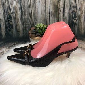 Ann Taylor Croc Leather Sling Back Heels SZ 6.5